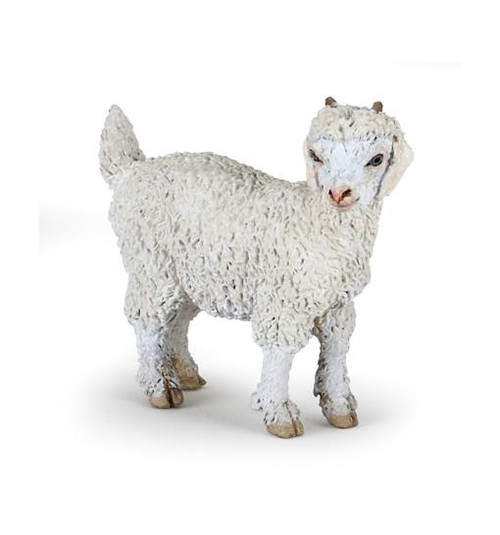 Originating in Kashmir and Tibet, the Angora kid, with nubs where its horns will grown in, looks like a cross between a goat & a sheep with its long, fast growing hair, which is well sought after for the wool it produces. This toy figurine is a beautifully made replica for any collection.