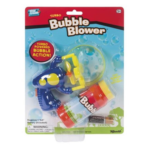 Turbo Bubble Blower comes with  1 x bubble tray  1 x bubble solution  1 x AA battery  Just press the button and the bubbles will flow!  For 5 yrs+