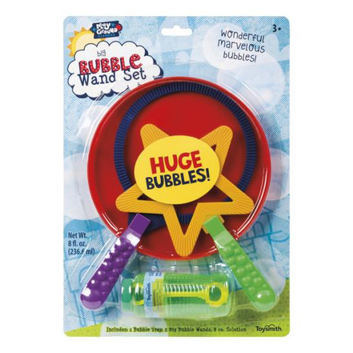 To use the big Bubble set, pour some bubble solution into the tray provided. Then, dip the wand of your choice into the tray and blow, wave your arm or run around to create your BIG bubbles.  For 3 yrs+