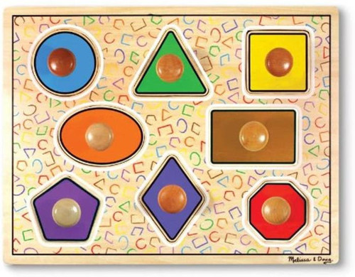 Large wooden knob puzzle with geometric pieces. Lift up the puzzle piece to find a picture of the shape. Great for tactile learning!  For 1 yr+
