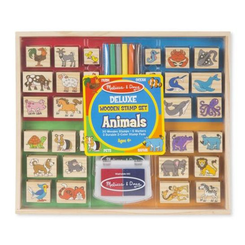 So much to do with this stamp set! Use the tray to store all your supplies, or flip it over and use it as a table. The set includes 30 wooden animal stamps as well as 2 x 2-colour stamp pads and a 6pk of markers to draw the scene for the stamps or embellish the picture after stamping.  For ages 4+