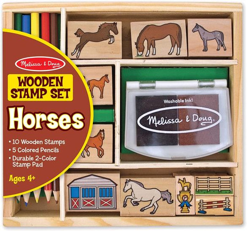 For young, crafty, horse enthusiasts. This wooden stamp set comes with 10 wooden horse -themed stamps, a two-coloured stamp pad, and 5 pencil crayons. Draw a scene and stamp in the horses - or stamp a scene and draw your details afterwards.  For 4 yrs +