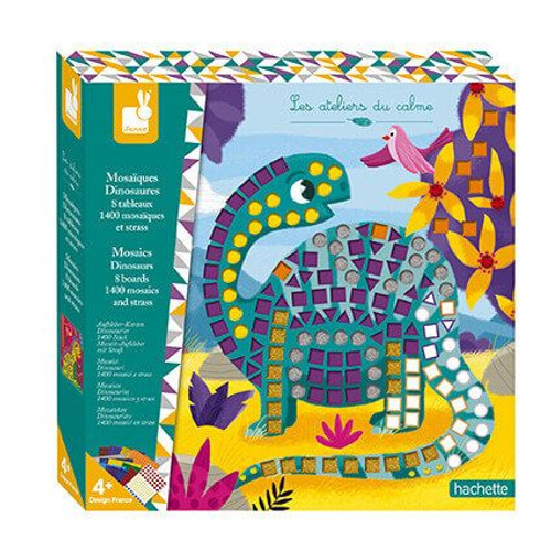 Dinosaur craft kit comes with 8 dino boards to decorate with 1 sheet of 'gems' and 12 different coloured mosaic sheets (1400 pieces). Great for working on motor skills, reflection and application.  For 4 yrs+