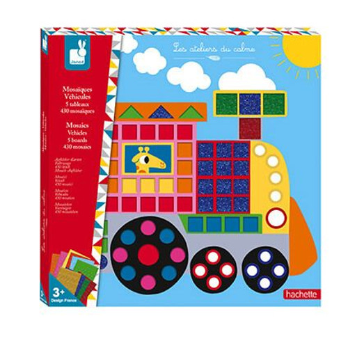 Fun with vehicles! This craft set contains 5 vehicle boards, 10 mosaic sheets (430 pcs) and 5 self-adhesive hooks to hang the works of art after their creation! Great for working on motor skills, reflection and application.  For 3 yrs+