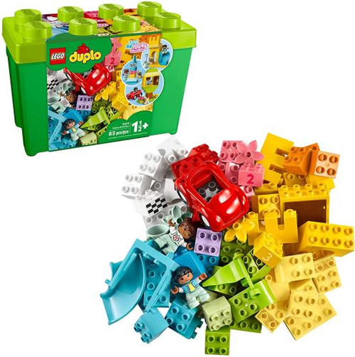Creative construction play with this 85 pc set from Duplo. There are 2 character figures & a dog figure, as well as a variety of brick shapes and colours. Great fun for all!  For 1 1/2 yrs+