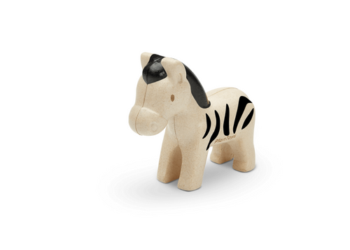 Little Zebra from Plan Toys, made of rubber wood.  For 12 months +