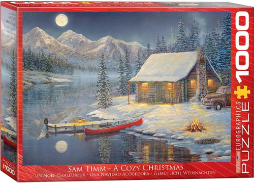A cozy Christmas at the cabin, the fire is roaring in the fireplace and the moon is full under clear skies.   1000pc puzzle - Artwork by Sam Timm