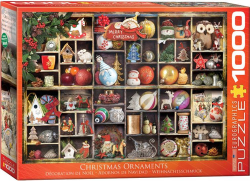 Neatly displayed in a wooden box, Christmas ornaments from seasons past and present in this seasonal 1000 piece puzzle from Eurographics.