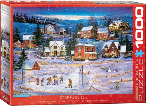 Street lamps give the players time to finish their game. Meanwhile, a couple of kids finish making a snowman, while the conditions are just right. Starry skies and moonlight, houses with smoke curling out of their chimneys - the ideal Canadian winter scene!  This 1000pc Stars on Ice is fun for the whole family!