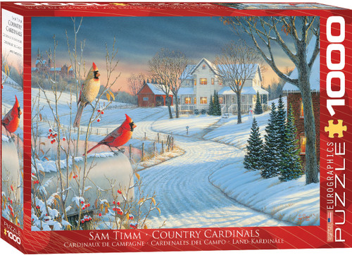 Cardinals perch atop a mailbox, considering whether to try the berries, or check if the feeder behind the house has been filled up yet. Lights are on and a snowman in the yard shows signs of outdoor activity, yet at the moment, the birds have free reign. This 1000pc Country Cardinals is fun for the whole family!
