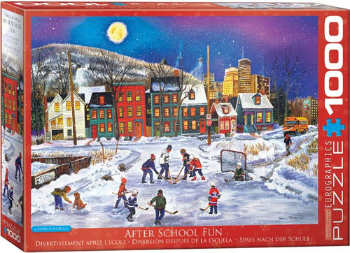 School's out, the game is on! Forget about homework and get outdoors and on the ice; play until the moon is high and the parents call out that it's bedtime. The whole family can have fun with this 1000 piece puzzle!