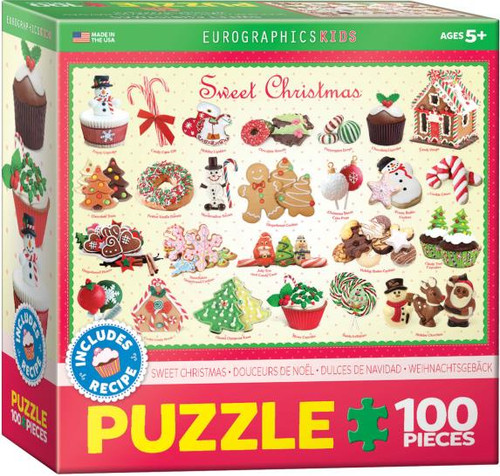 Indulge your sweet tooth with this 100pc children's Christmas puzzle - laden with gingerbread; cookies & a house, cupcakes and other treats that remind us of Christmas!