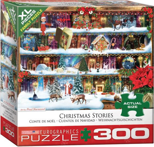 Elves & shelves, books and magic nooks, Northern Lights & Christmas nights. Many a story can be found or imagined with this 300 piece puzzle from Eurographics.  The XL piece size is great for the whole family to puzzle!