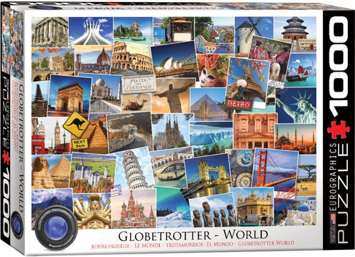 Iconic landmarks - the Statue of Liberty, Golden Gate Bridge, the Easter Island figures, the red phone box from the UK... See which ones you can identify as you piece together this 1000 piece Globetrotter series puzzle from Eurographics.