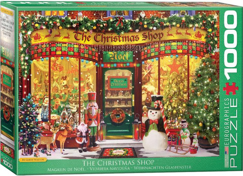 Peer through the shop window at the goods inside - by the door, a sleigh awaits for its owner to ride. Christmas trees decked out with tinsel & warm lights - just what we need on these cold winter nights! This 1000 piece puzzle will get the whole family in the Christmas Spirit!
