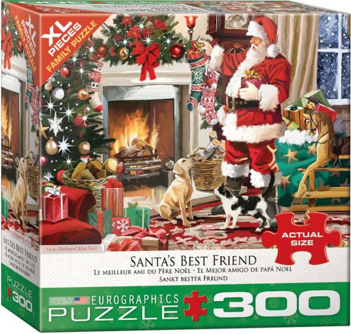The family dog smiles adoringly at Santa as he fills stockings. Meanwhile, the cat is curious, yet aloof.  The XL piece size is great for the whole family to puzzle!