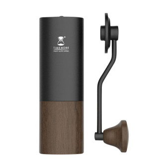 high quality wooden and aluminium coffee grinder Constructed from high grade aluminium, wood and stainless steel, this coffee grinder is built to last with a ball bearing system to ensure even grinding and durability.