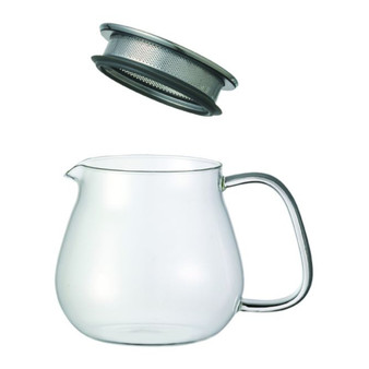 KINTO Unitea Loose Leaf Teapot ONE TOUCH Built in Strainer - Clear Glass 460ml