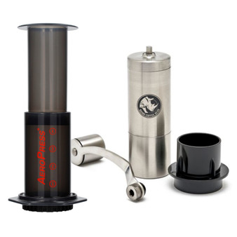 Aeropress Coffee Maker and Hand Grinder Package