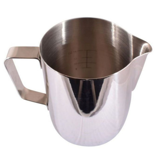 Milk Foaming Jug Stainless Steel - With Measurements 0.6L Mirror Finish