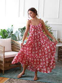 Maui Dress in Red Zinnia