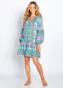 Phoebe Peasant Dress in Mint