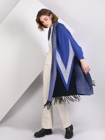 Poncho Sweater in Blue/Grey