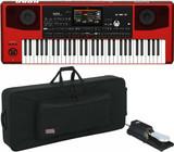 KORG Pa700 RD RED 61-key Arranger 370 Music Styles + Gator GK-61 + KSP100 Pedal