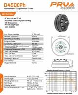 "4x PRV Audi0 D4500Ph 2"" EXIT PRO AUDIO PHENOLIC COMPRESSION DRIVER 500W 8-Ohm"