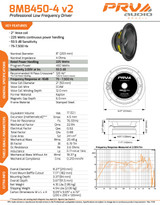 "2x PRV Audio 8MB450-4 v2 8"" Pro Midbass 450Watts Woofer 4-Ohms Car Audio Speaker"