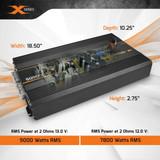 PRV SQ9000X 2-Ohms 1 Channel Full Range Amplifier 20hz-15khz 9000W RMS at 13.0V