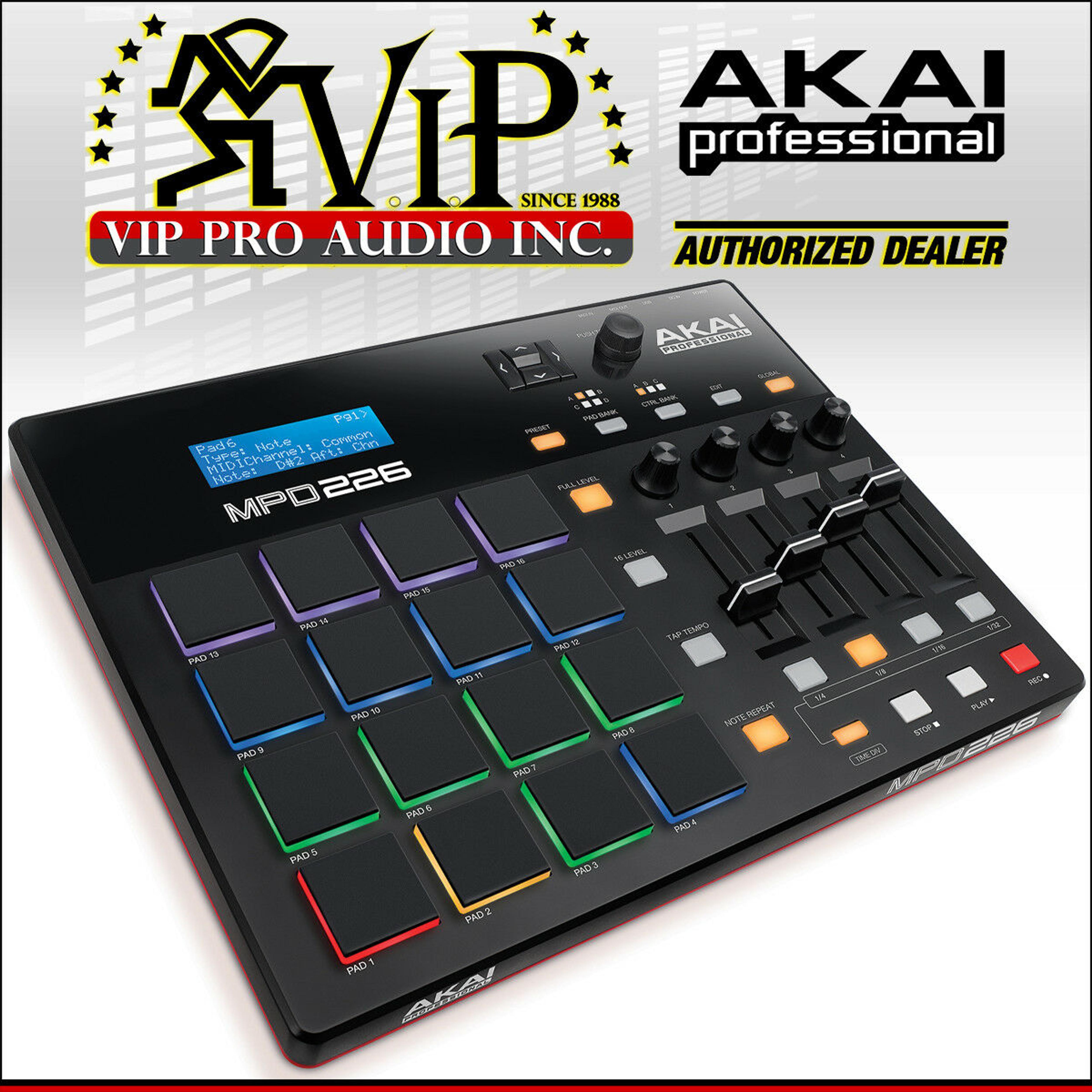 Akai MPD226 PRO MIDI USB Pad Drum Beat Controller 64-Pads + Ableton Live  Lite