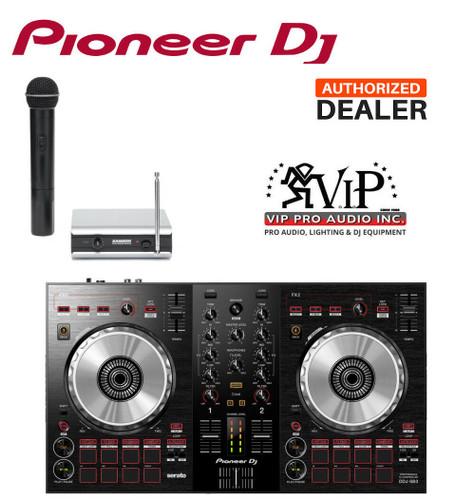 Pioneer DDJ-SB3 SERATO DJ CONTROLLER w/2-Ch Mixer Built in + Samson  Wireless Mic