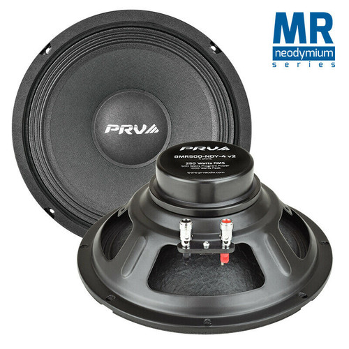 """2x PRV 8MR500-NDY-4 V2 8"""" NEODYMIUM MidRange Woofer 4-Ohm 500W Car Audio Speaker"""