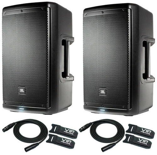 """2x JBL EON610 10"""" Two-Way Speaker Self-Powered Sound Reinforcement & Free Cables"""