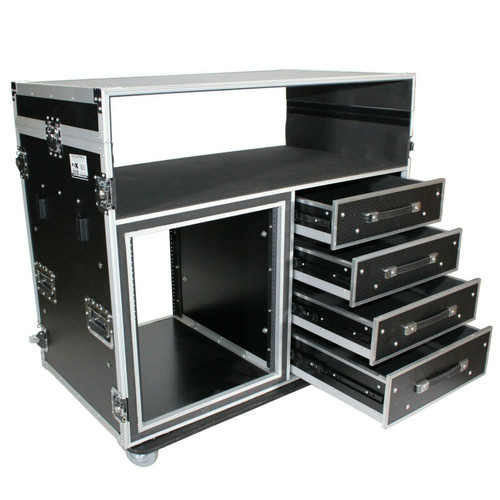 ProX XS-12U4DTWCO Dual-Table Case And Mixing Console Workstation W-Casters