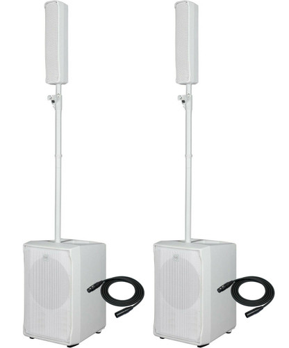 2x RCF EVOX J8-W Active 2-Way Portable Line Array System 1400W Speaker + 2x Cables