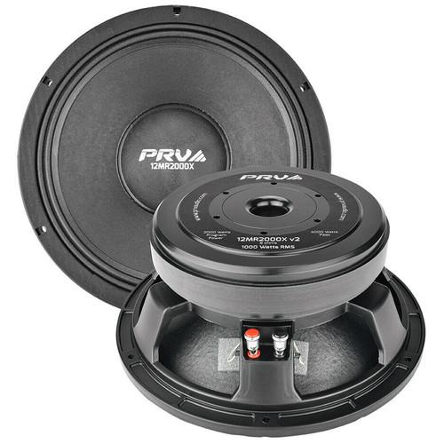 """4x PRV AUDIO 12MR2000X v2 12"""" Mid Range Aluminum Basket - 4"""" VC - 2000W Speaker"""
