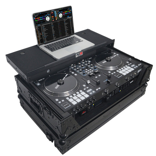 ProX XS-RANEONE WLTBL Flight Case For RANE ONE DJ Controller w/ Sliding Laptop Shelf, 1U Rack & Wheels (Black on Black)