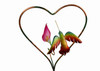 """Copper Hummingbird with Calla Lily Flower on 14"""" Heart"""