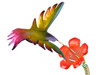 "Copper Hummingbird with Trumpet Flower on Spring - 6"" wingspan"