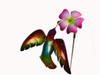"Copper Hummingbird with Pansy Flower on Spring - 6"" wingspan"