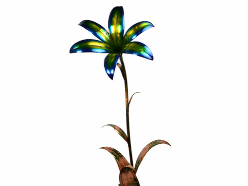 "Copper Lily Flower - Single Bloom 54"" Tall - Oversized Item - CONTACT US FOR SHIPPING & ORDER INFO."
