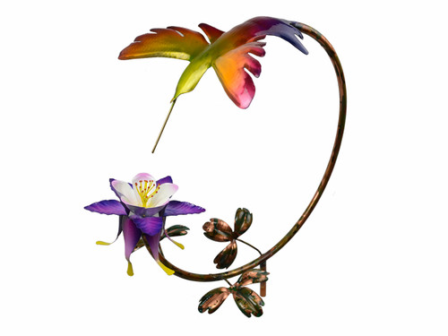 "Hummingbird with Columbine Flower on 13"" circle"