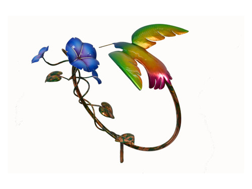 "Copper Hummingbird with 3 Morning Glory Flowers on 9"" Circle"