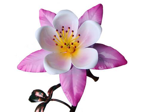 "Copper Columbine Flower - Single Bloom - 24"" Tall"