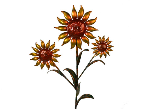 "Copper Sunflower - Triple Bloom - 24"" Tall"