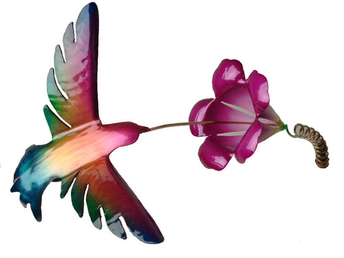 """Copper Hummingbird with Trumpet Flower on Spring - 6"""" wingspan"""