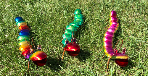 Handmade copper caterpillar.  Comes with post.