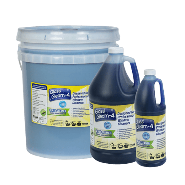 TITAN LABS Glass Gleam-4™ Window Cleaning Concentrate - Blue - 4 Gallon Case